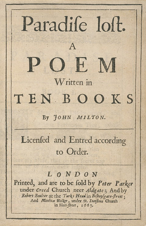 Paradise Lost 1667 title page