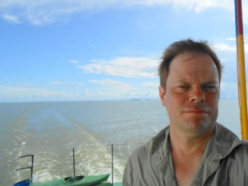 Henighan on ferry on Lake Nicaragua