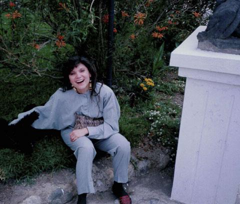 karen-mulhallen-at-the-equator-in-ecuador-wearing-missoni-pantsuit-peter-fox-shoes-and-aboriginal-plains-earrings-1993