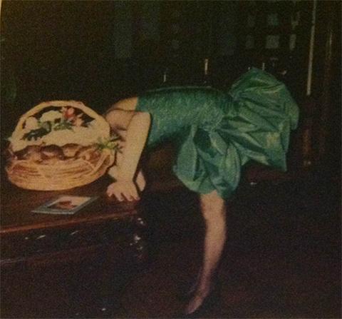 karen-mulhallen-wearing-victor-costa-dress-from-joy-cherry-1992