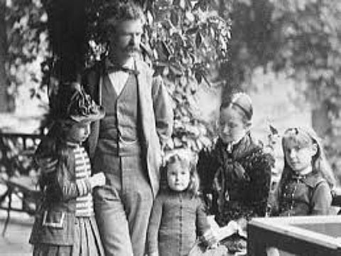 Mark Twain (Clemens) family around the time Adventures of Huckleberry Finn was published