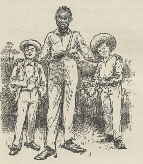 Tom Sawyer, Jim, and Huck