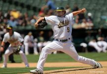 29 May 2008: Athletics #51 Dallas Braden pitches during the Blue Jays 12-0 win over the A's in Oakland at McAfee Coliseum.