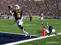 1 September 2012: Cal #6 Chris Harper scores his first TD during the Nevada Wolf Pack's 31-24 victory over the California Bears at Memorial Stadium in Berkely, California.