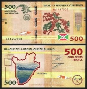 BURUNDI .n50a - 500 FRANCOS (2015) NOVA 1