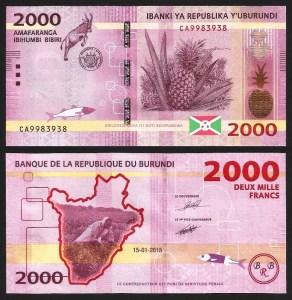 BURUNDI .n52a - 2.000 FRANCOS (2015) NOVA 1