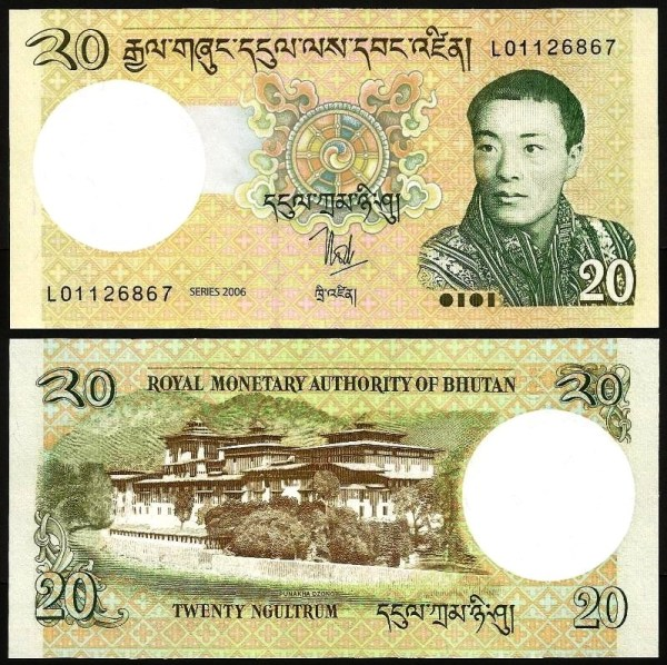 BUTÃO .n30 (BHUTAN) - 20 NGULTRUM (2006) NOVA