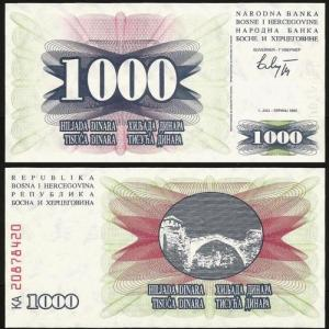 BÓSNIA-HERZEGOVINA .n015 - 1000 DINARA (1992) NOVA