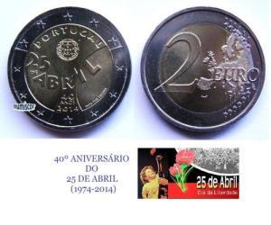 (K1171) MOEDA CC - 2,00 EURO '40º Aniv. do 25 de Abril' (2014) Bimetálica Colorida