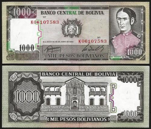 BOLÍVIA .n167 - 1.000 PESOS B. (1982) NOVA +++++ VENDIDA +++++