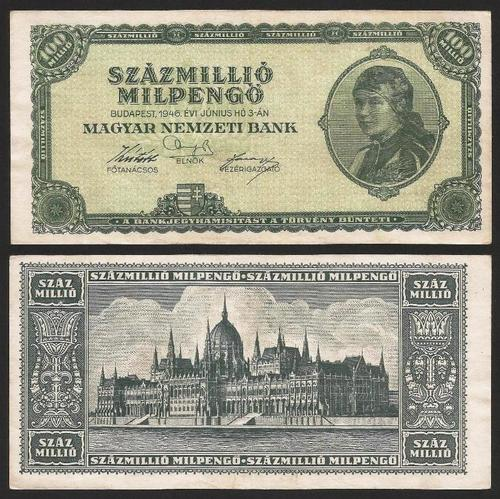 HUNGRIA .n130 (HUNGARY) - 100.000.000 MILPENGO (1946) CIRC. +++++ VENDIDA +++++