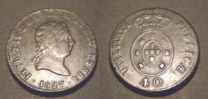 (M35A021) D. PEDRO IV - PATACO - 40 REIS (1827) Bronze ... Rara +++++ VENDIDA +++++