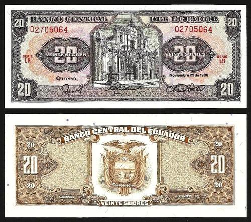 EQUADOR .n121A (ECUADOR) - 20 Sucres (22.11.1988) NOVA
