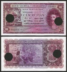 ÍNDIA PORTUGUESA (19) - 100 RUPIAS 'Afonso Albuquerque' (1945) NOVA …Rara