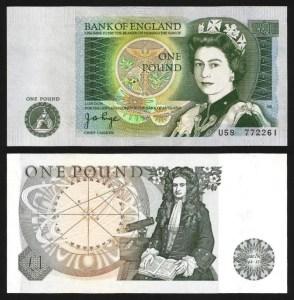 INGLATERRA .n377a (GREAT BRITAIN) - 1 LIBRA 'Elisabeth II / Isaac Newton' (1978/80) BELA +++++ VENDIDA +++++ 2