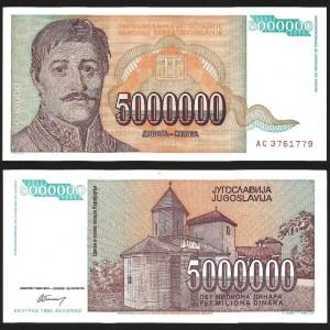 JUGOSLÁVIA .n132 (YUGOSLAVIA) - 5.000.000 DINARA (1993) QNOVA