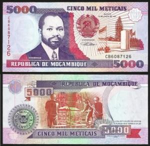 MOÇAMBIQUE .n136 (MOZAMBIQUE) - 5.000 METICAIS 'Samora Machel' (1991) NOVA… Esc. +++++ VENDIDA +++++