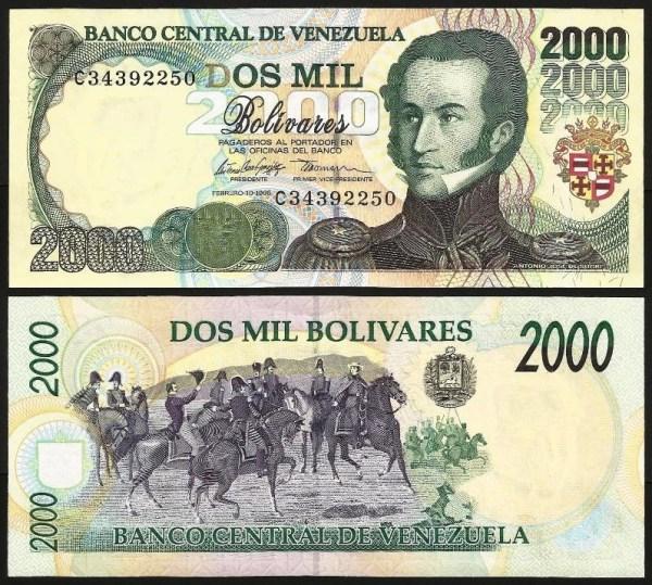 VENEZUELA .n077 - 2.000 BOLÍVARES (1998) NOTA NOVA