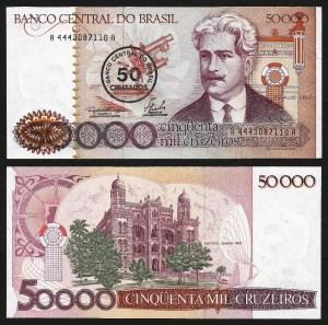BRASIL .n207 (BRAZIL) - 50 CRUZADOS S/ 50.000 CRUZEIROS (1986) NOVA