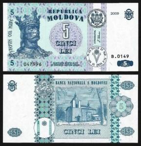 MOLDÁVIA .n09 (MOLDOVA) - 5 LEI (2009) NOVA 1