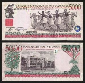 RUANDA .n28 (RWANDA) - 5.000 FRANCOS (1998) NOVA... rara 1