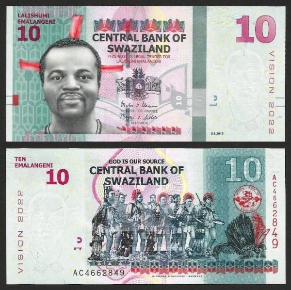 SUAZILÂNDIA .n41 (SWAZILAND) - 10 EMALANGENI CMM (2015) NOVA