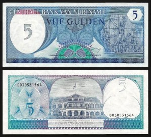 SURINAME .n125 - 5 GULDEN (1982) NOVA