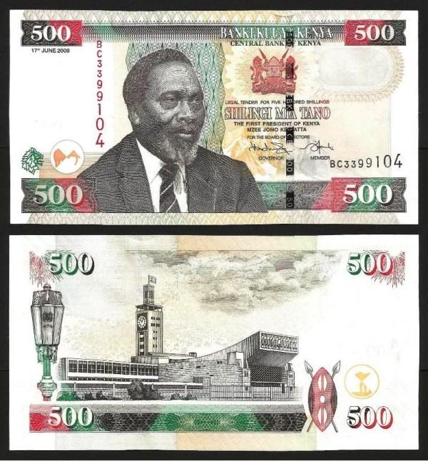 QUÉNIA .n50 (KENYA) - 500 SHILLINGS (2009) NOVA 1