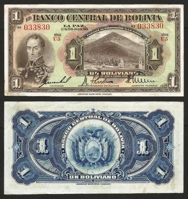BOLÍVIA .n118 - 1 BOLIVIANO (Lei 1928) BELA... Dif.