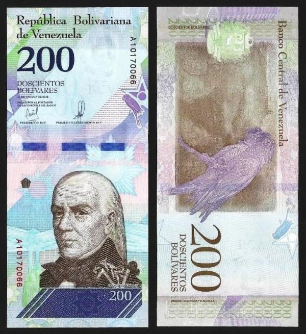 VENEZUELA .107a - 200 BOLÍVARES 'Soberanos' (15.01.2018) NOVA