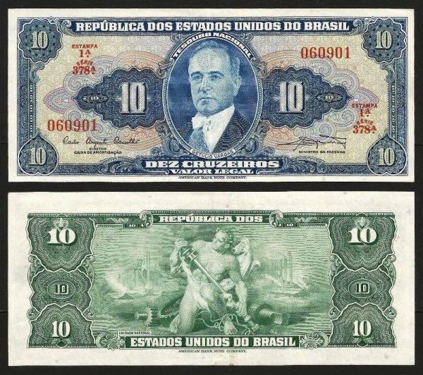BRASIL .n167a (BRAZIL) - 10 CRUZEIROS (1961) Q/NOVA