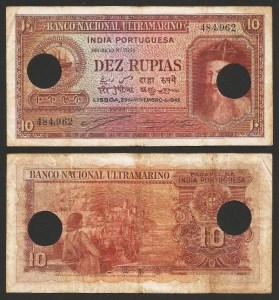 ÍNDIA PORTUGUESA (11) - 10 RUPIAS 'Afonso Albuquerque' (1945) CIRC… Esc.