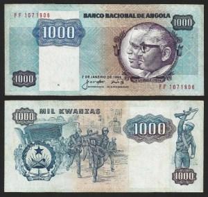 ANGOLA .n121a - 1.000 KWANZAS 'Agostinho Neto / José E. Santos' (1984) CIRC... Dif.