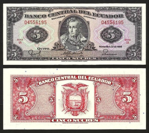 EQUADOR .n113d1 (ECUADOR) - 5 SUCRES (22.11.1988) NOVA