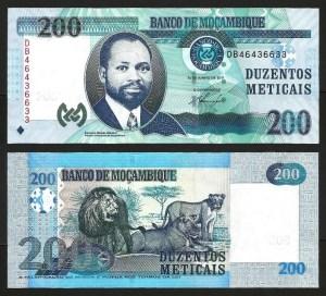 MOÇAMBIQUE .n152a (MOZAMBIQUE) - 200 METICAIS 'Samora Machel' (2011) NOVA… Esc.