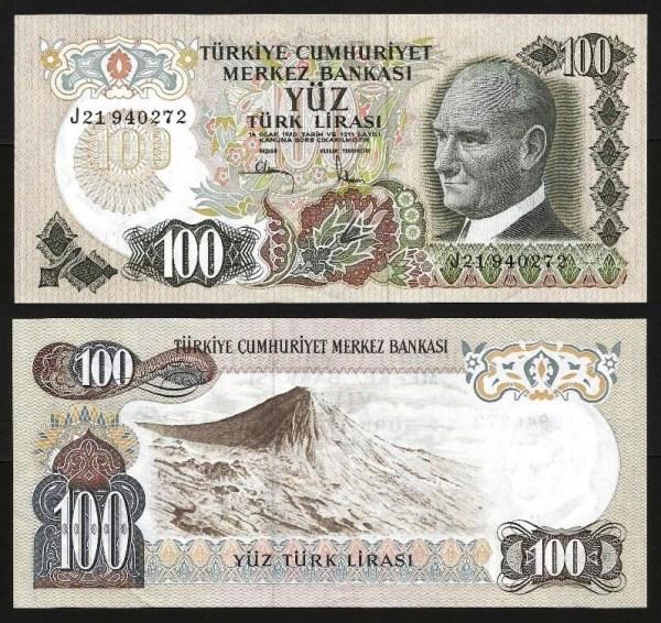 TURQUIA .n189 (TURKEY) - 100 LIRAS (1972) QNOVA