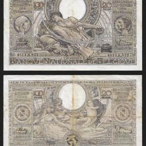 BÉLGICA .n107 (BELGIUM) - 100 FRANCOS / 20 BELGAS (17/09/1938) CIRC... Esc.