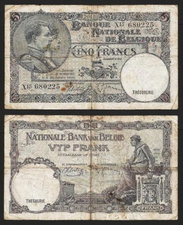 BÉLGICA .n108 (BELGIUM) - 5 FRANCOS (12/04/1938) CIRC… Esc.