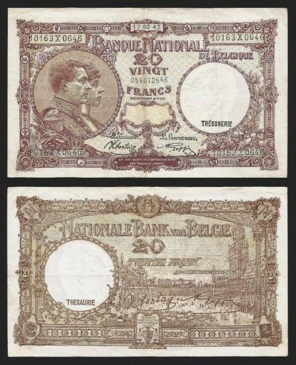BÉLGICA .n111 (BELGIUM) - 20 FRANCOS (17/02/1943) CIRC… Dif.