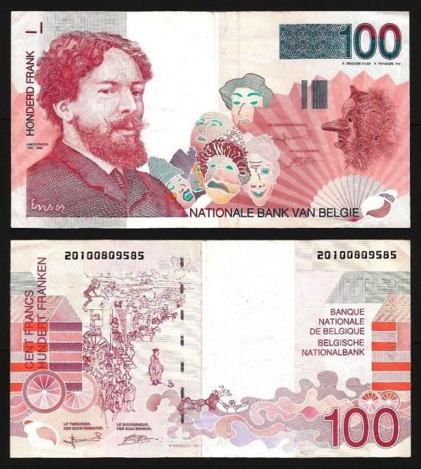 BÉLGICA .n147-1 (BELGIUM) - 100 FRANCOS 'James Ensor' (1995/2001) CIRC.