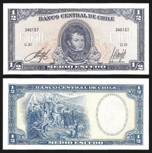 CHILE .n134Aa - 1/2 ESCUDO 'Gen. Bernardo O'Higgins' (1962/75) NOVA