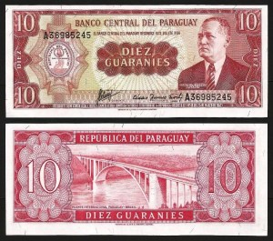 PARAGUAI .n196b (PARAGUAY) - 10 GUARANIES (L1952 / 1963-) NOVA ... Esc.