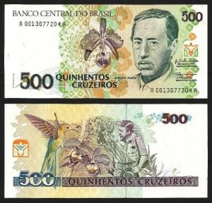 BRASIL .n230a (BRAZIL) - 500 CRUZEIROS (1990) NOVA … Esc.