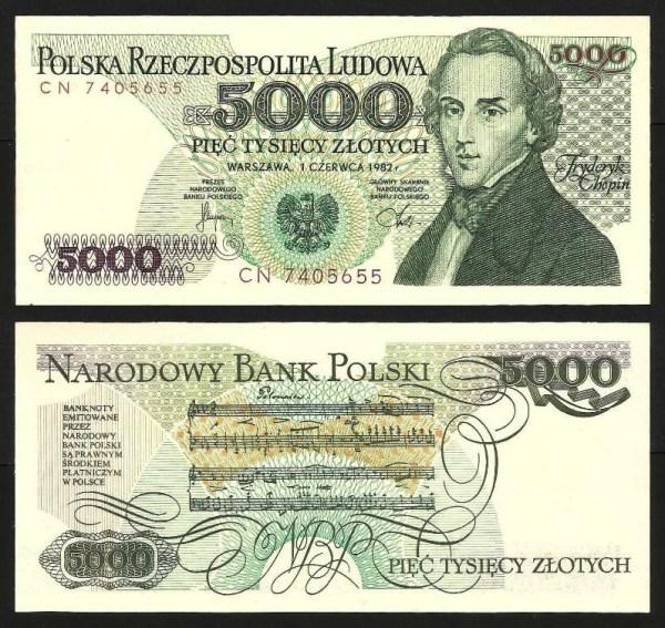 POLÓNIA .n150a (POLAND) - 5.000 ZLOTYCH 'Fryderyk Chopin' (1982) NOVA… Esc.