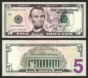 ESTADOS UNIDOS AMÉRICA .n539 (U.S.A.) - 5 DOLLARS 'Abraham Lincoln' (2013) NOVA