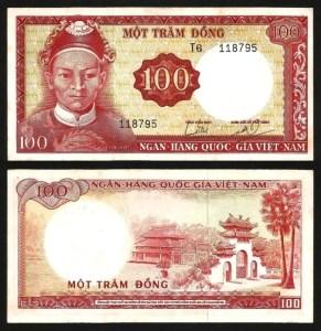 VIETNAM DO SUL .n19b (SOUTH VIET NAM) - 100 DONG (1966) NOVA... Dif.