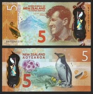 NOVA ZELÂNDIA .n191 (NEW ZEALAND) - 5 DOLLARS (2015) NOVA