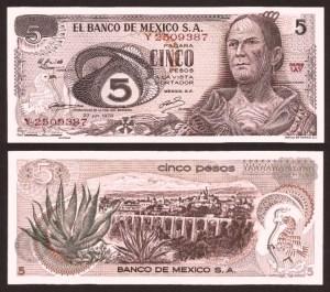MÉXICO .n062c - 5 PESOS (1972) NOVA … Esc.