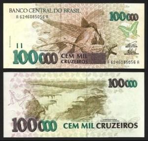 BRASIL .n235c (BRAZIL) - 100.000 CRUZEIROS (1993) NOVA