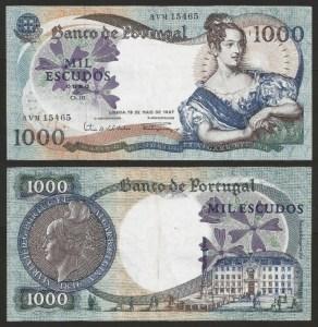 PR64A2. PORTUGAL - 1.000 ESCUDOS 'D. Maria II' Ch.10 (19.05.1967) CIRC.